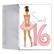 stylish fashionable sweet sixteen 16 birthday greeting card