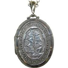 Great Dane Home Decor Ornate Sterling Foliate Engraved Large Oval Locket From Bejewelled