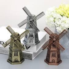 metal ornaments home decor 17cm antique bronze dutch windmill model metal figurine furnishing