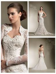 trumpet mermaid all over lace sweetheart wedding dress with long