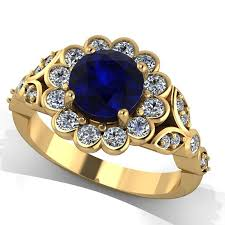 gold rings stones images 14k yellow gold diamond ring with blue sapphire center stone jpg