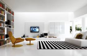 modern living room furniture with plasma tv wall and striiped rug