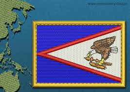 Embroidered American Flag American Samoa Rectangle Flag Embroidery Design With A Gold Border