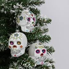 skull glass hanging decorations box of 3
