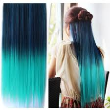 teal hair extensions uniwigs ombre dip dye color clip in hair extension