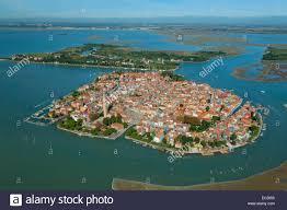aerial view of burano island venice lagoon italy europe stock