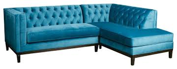 Blue Sectional Sofa With Chaise by Damon Transitional Turquoise Blue Tufted Sofa Chaise Sectional