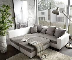 Wohnzimmer Hocker Couch Lavello Grau Weiss 210x210 Ecksofa Ottomane Links Mit Hocker