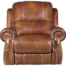 chestnut brown leather match power recliner nailhead rc willey furniture