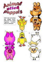 animal stick puppets b u0026 w included