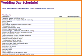 wedding day planner 6 wedding day timeline template free expense report