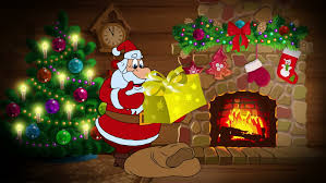 christmas gifts for new animated new year card with character santa claus and gifts