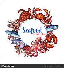 seafood restaurant poster vector sketch design u2014 stock vector
