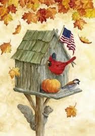 rustic birdhouse house flag fall leaves american flag pumpkin 28 u0026