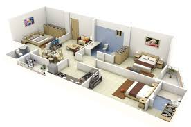 3d Office Floor Plan 50 Three U201c3 U201d Bedroom Apartment House Plans Architecture U0026 Design