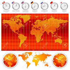 Map Of World Time Zones by Time Zones And Clocks Vector Illustration Royalty Free Cliparts