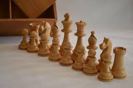 vintage wooden chess set in wooden storage box ca 1920 from