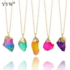making stone necklace images Trendy 8 colors irregular natural stone pendant necklaces for jpg