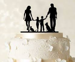 family wedding cake toppers family cake topper personalized silhouette glitter cake topper