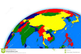 Political Map Asia by Southeast Asia On Globe Political Map Stock Illustration Image