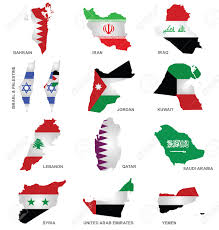 gulf logo vector flags of gulf states overlaid on outline maps isolated on white