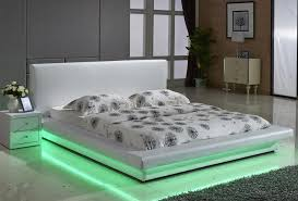 Exton Leather Platform Bed With Led Lights