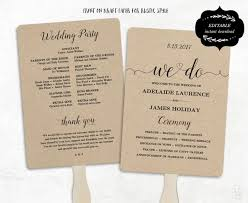 kraft paper wedding programs printable wedding program template fan wedding program diy kraft