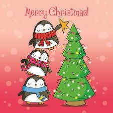 christmas card penguin chritmas tree christmas card 2 50 creased cards