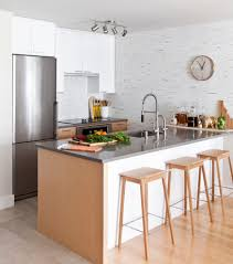 small kitchen peninsula with round wall clock kitchen contemporary
