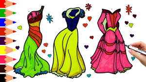 draw color paint dress coloring page princess dress coloring