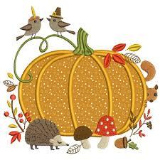 pumpkin with animals thanksgiving applique machine embroidery