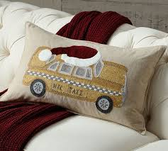 Christmas Pillows Pottery Barn Nyc Yellow Taxi Embroidered Pillow Cover Pottery Barn