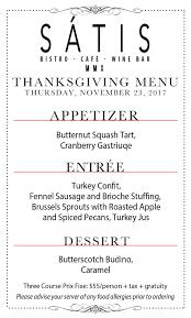 thanksgiving menu satis bistro jersey city