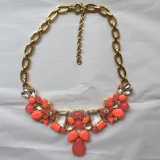 big crystal statement necklace images J crew jewelry orange coral and clear crystal statement jpg