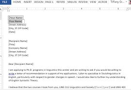 graduate recommendation letter request sample
