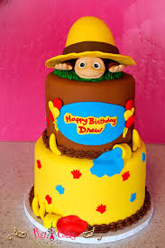 curious george birthday cake birthday cake boy girl curious george monkey yellow hat brown tiers