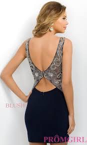 short navy blue open back party dress promgirl