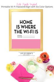 Kate Spade Home by Kate Spade Inspired Printable Wi Fi Password Sign From Life Of