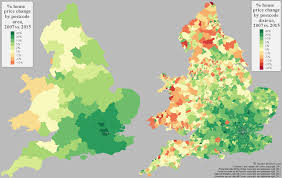 Map Of England And Wales by Percentage Change In House Prices In England U0026 Wales 2007 Vs