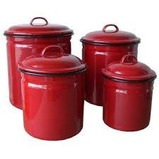 red kitchen canisters red enamelware 4 piece canister set retro vintage home decor