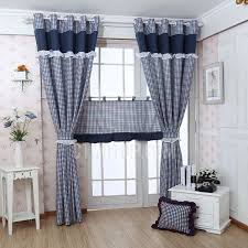 navy blue plaid print polyester nautical living room curtains