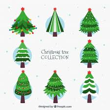 eight beautiful decorated christmas trees vector free download