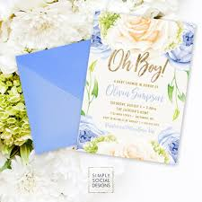 blue floral baby shower invitation oh boy it u0027s a boy roses