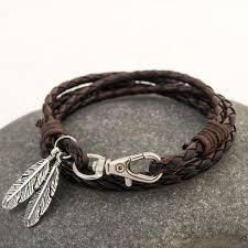 leather women bracelet images 70cm fashion leather wrap braided wristband cuff punk feather men jpg