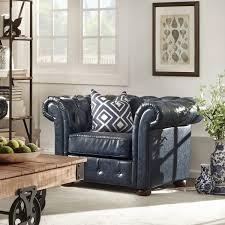 Scroll Arm Chair Design Ideas Knightsbridge Navy Blue Bonded Leather Tufted Scroll Arm