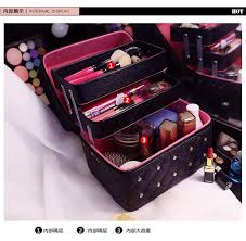 Makeup Box cosmetic bags solid pu leather makeup box with 3 layer