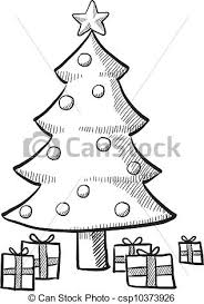 vector illustration of christmas tree sketch doodle style