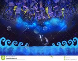 illustration the upside down city buildings in the starry night royalty free illustration download illustration the upside down