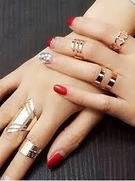 ring set cut out heart geometric ring set platinum rings zaful