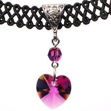 swarovski choker necklace images 14mm fuchsia pink swarovski crystal heart swirl trim choker jpg